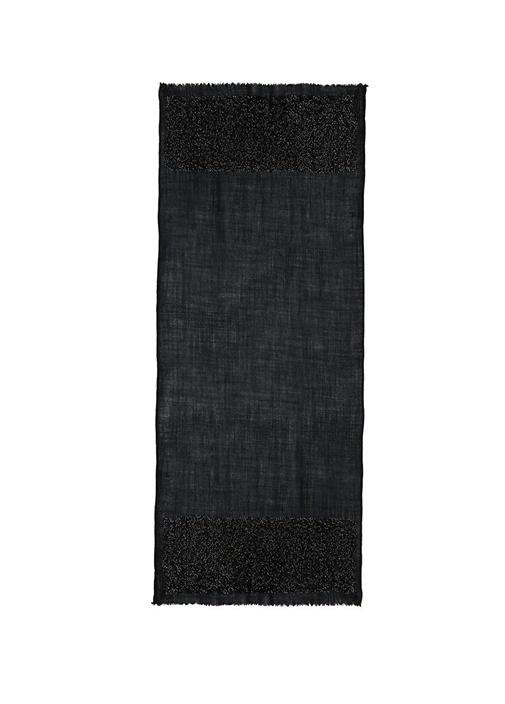 Siyah Payet İşli Yün Şal