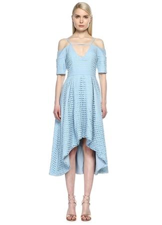 8TH SIGN Fileli Açık Mavi Midi Elbise
