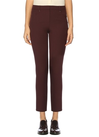 Bordo Normal Bel Streç Pantolon