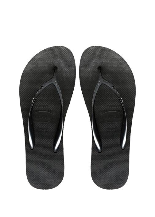 Siyah Dolgu Topuklu Kadın Plaj Terliği