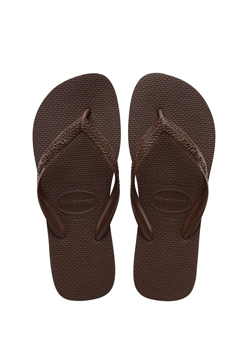 Kahverengi Doku Detaylı Erkek Plaj Terliği
