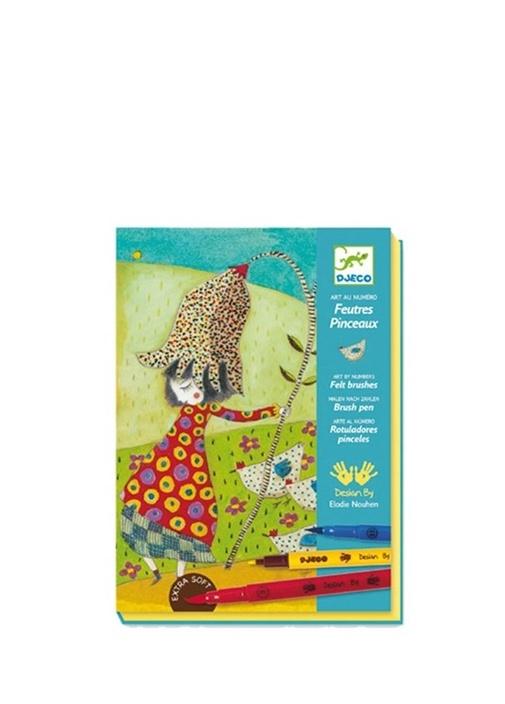 Djeco çok Renkli Kids Feutres Pinceaux Unisex çocuk Boya Seti 266787