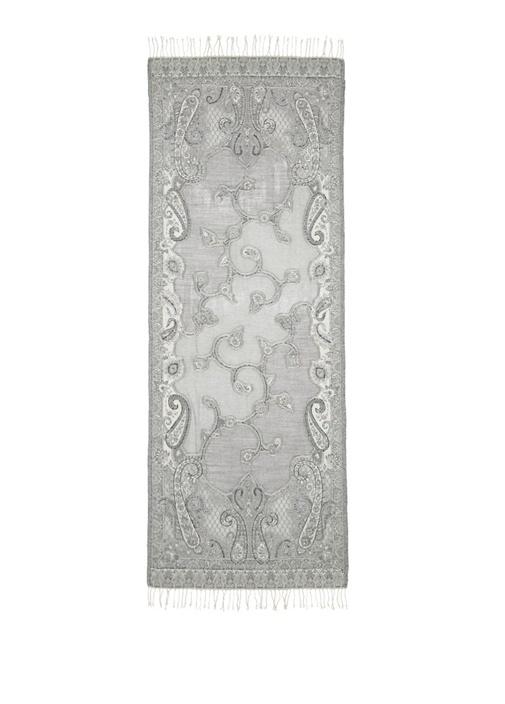 Gri Etnik Desenli Boncuklu 70x180 cm Kadın Şal