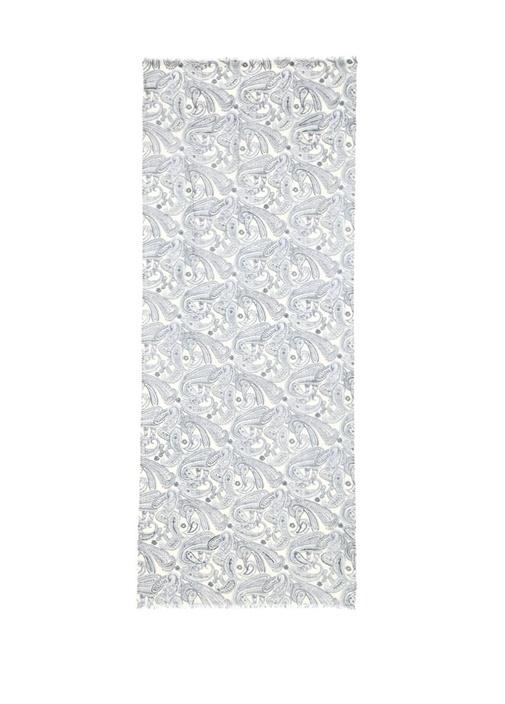 Mavi Etnik Desenli 65x180 cm Kadın Yün Şal