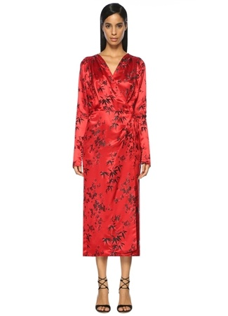 ATTICO Kruvaze Kırmızı Maksi Saten Elbise