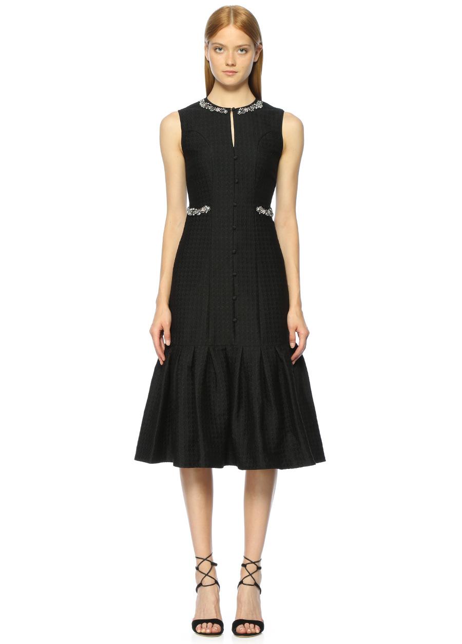 Erdem Taş İşlemeli Siyah Midi Elbise