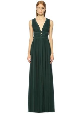 Derin V Yeşil Maksi Abiye İpek Elbise NICOLE MILLER