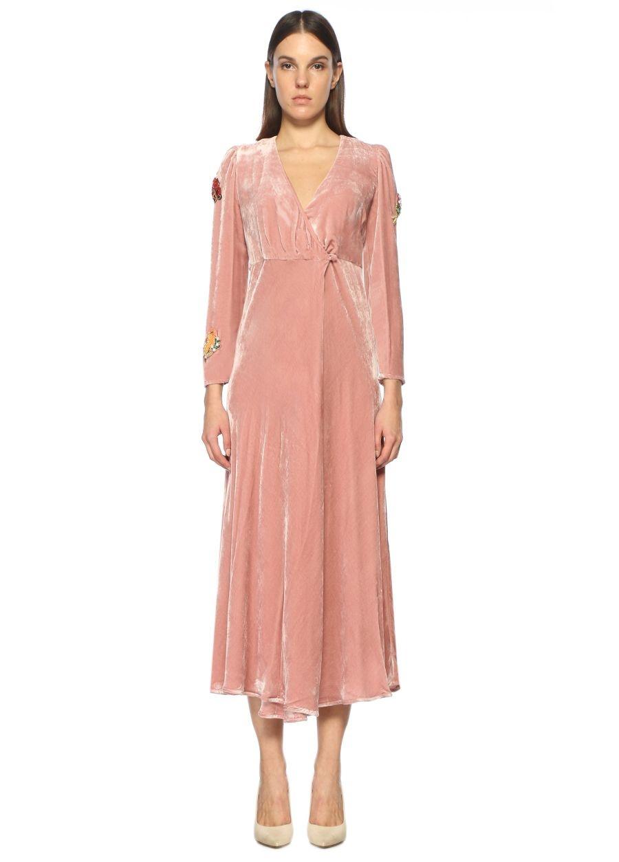 Vivetta Anvelop İpek Pembe Midi Elbise