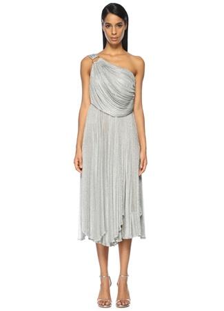 Tek Omuzlu Gümüş Rengi Midi Abiye Elbise MARIA LUCIA HOHAN