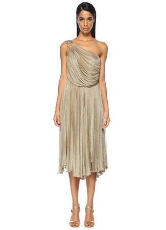 Tek Omuzlu Gold Midi Abiye Elbise MARIA LUCIA HOHAN