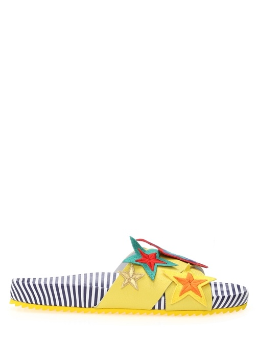 Mira Mikati Çok Renkli KADIN  Yıldız Detaylı Deri Kadın Terlik 252014 Beymen
