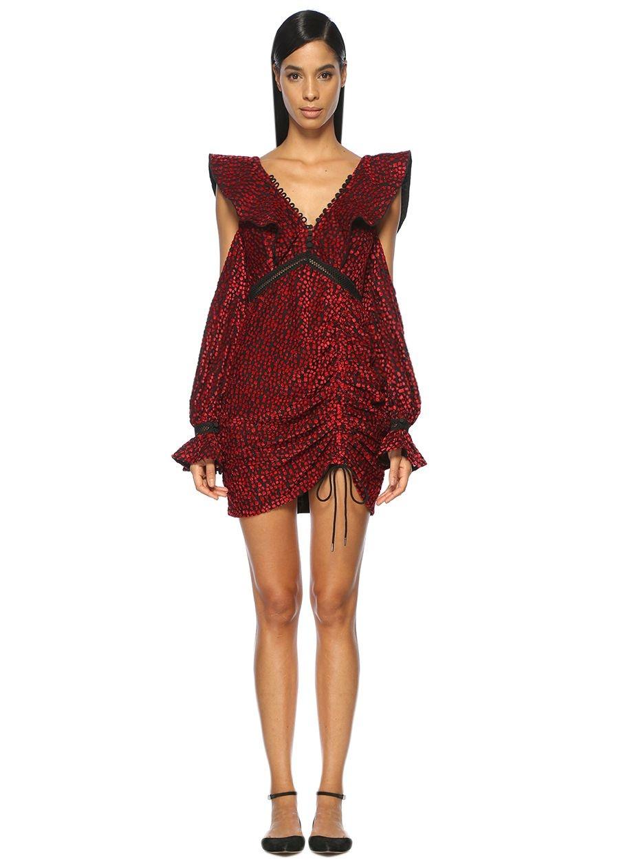Self Portrait Sırtı Bağcıklı Büzgülü Kırmızı Mini Elbise