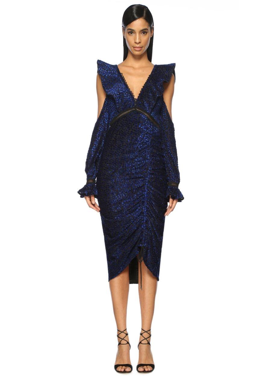 Self Portrait Volanlı Sırtı Bağcıklı Mavi Midi Kokteyl Elbise