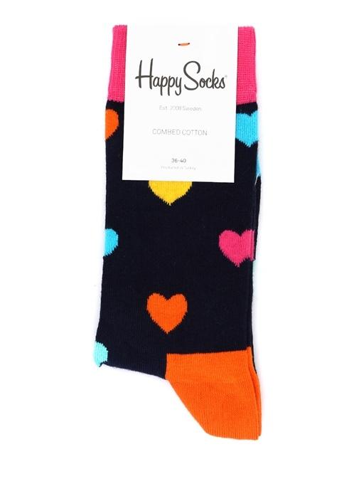 Siyah Kalp Desenli Kadın Çorap