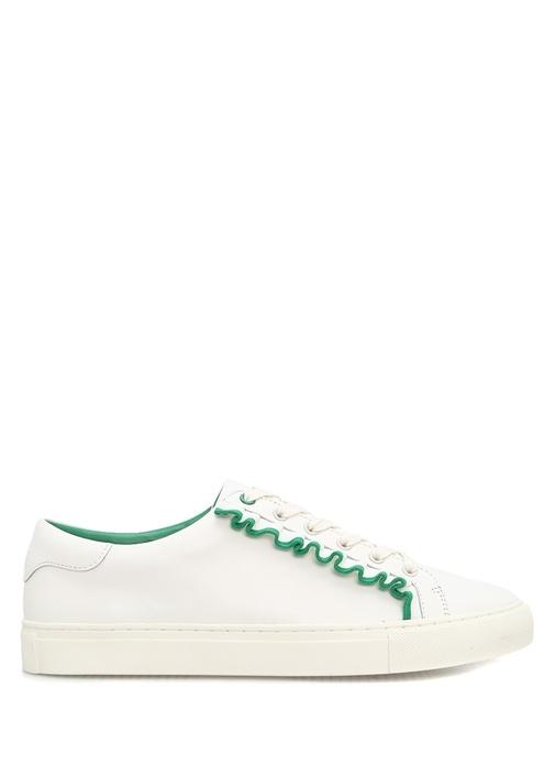 Tory Burch Beyaz KADIN  Ruffle Yeşil Fırfırlı Beyaz Deri Kadın Sneaker 335618 Beymen