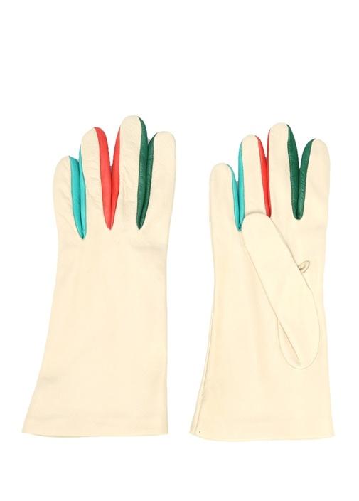 Beyaz Parmakları Renk Detaylı Kadın Deri Eldiven