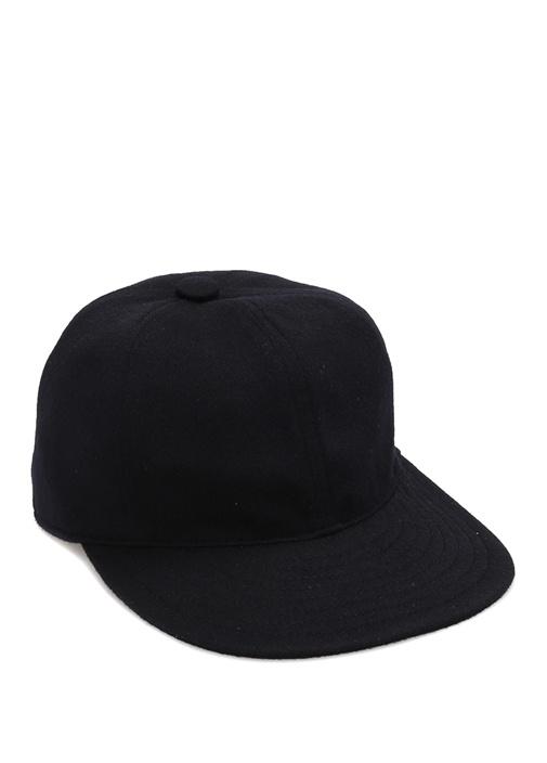 Lacivert Dekoratif Dikişli Erkek Yün Şapka