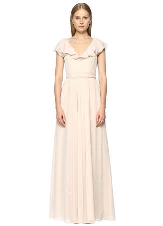 JILL JILL STUART V Yaka Fırfırlı Açık Pembe Maksi Elbise
