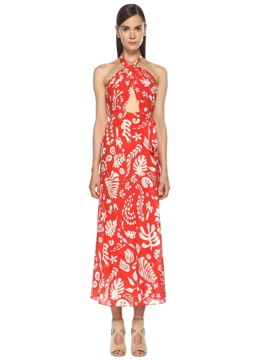 Rixo Kırmızı Desenli Midi İpek Elbise