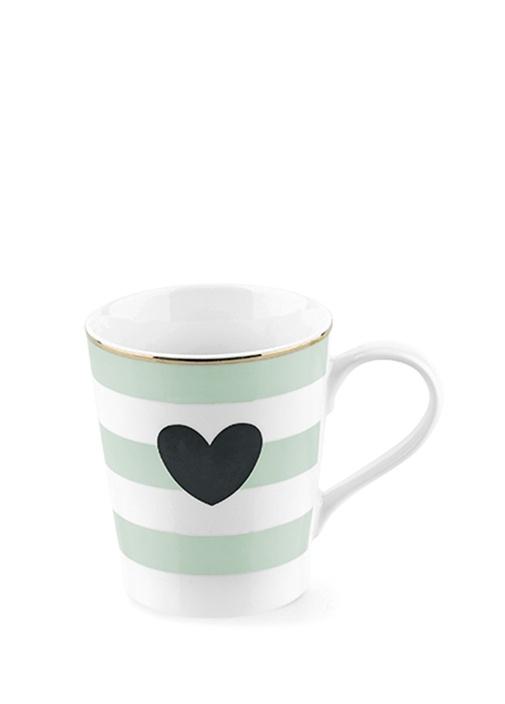 Yeşil Beyaz Çizgili Kalp Baskılı Kupa