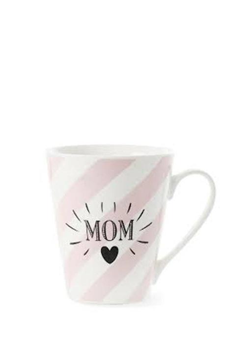 Bone China Pembe Beyaz Çizgili Mom Baskılı Kupa