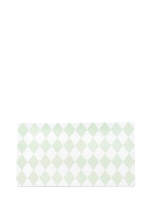 Beyaz Yeşil Desenli Seramik Servis Tabağı