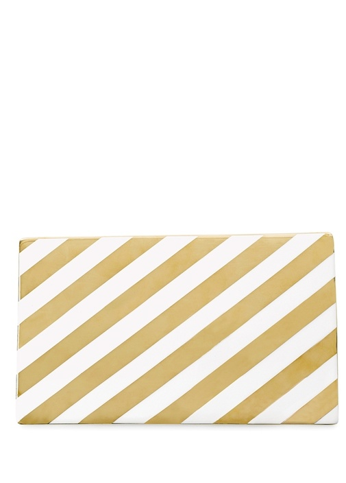 Gold Beyaz Çizgili Servis Tabağı