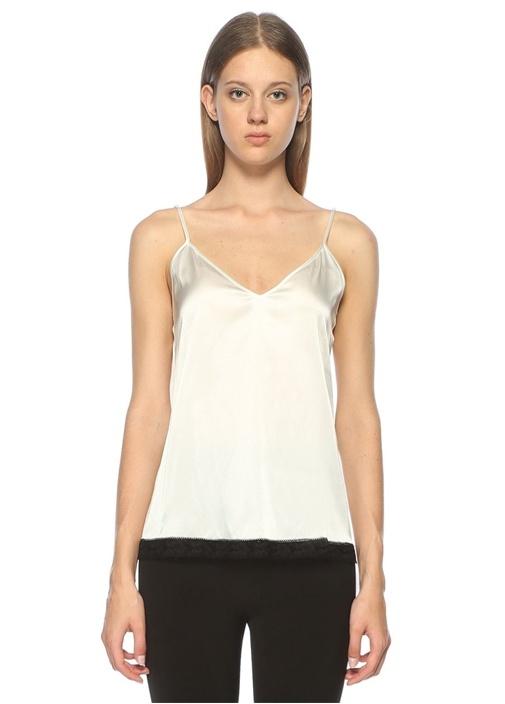 Beyaz V Yaka Dantel Garnili Askılı Saten Bluz