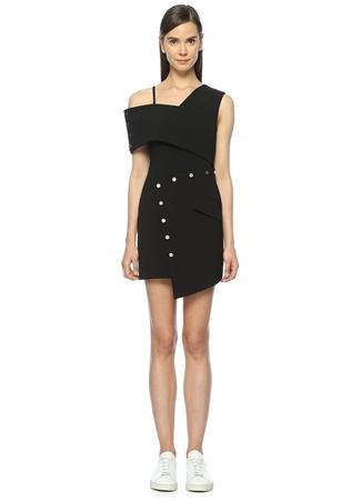 JUNE11 Asimetrik Kesim Siyah Mini Elbise