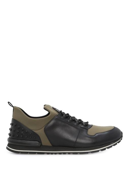 Tod's Siyah-Yeşil ERKEK  Zımbalı Siyah-Yeşil Deri Erkek Sneaker 317570 Beymen