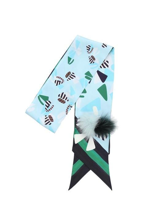 Yeşil Çizgili Geometrik Desenli Kadın İpek Fular