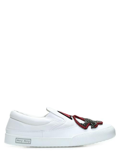 Miu Miu Beyaz KADIN  Beyaz Deri Kadın Sneaker 326405 Beymen
