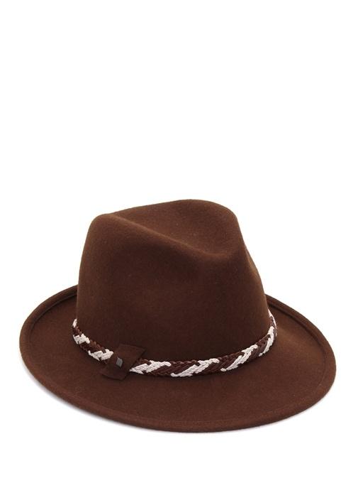 Kahverengi Örgülü Şerit Detaylı Kadın Yün Şapka