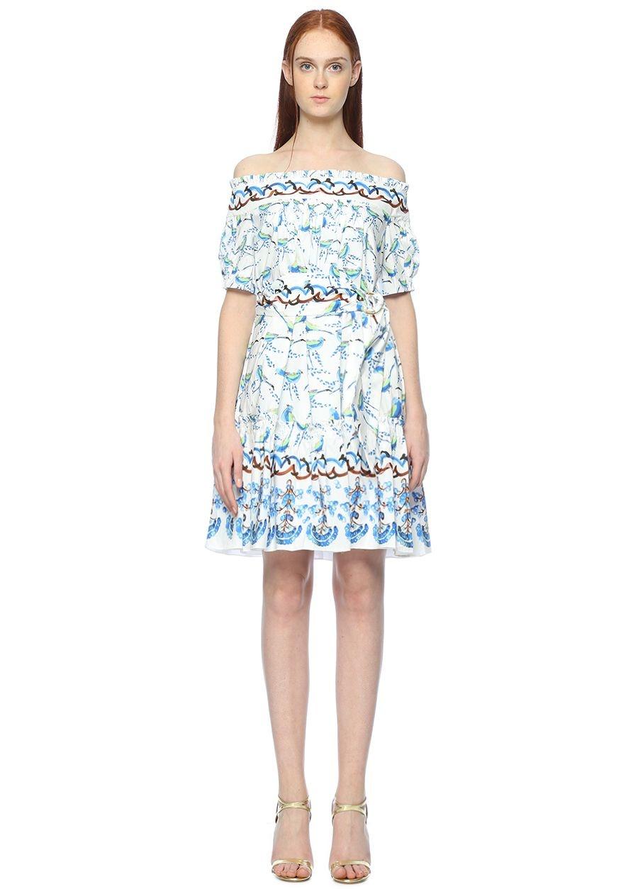 Peter Pilotto Kayık Yaka Beyaz Desenli Mini Elbise
