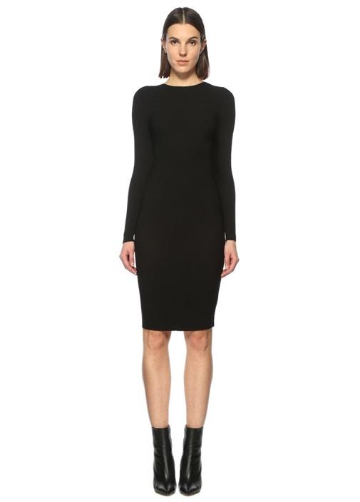 Sırt Dekolteli Siyah Mini Elbise
