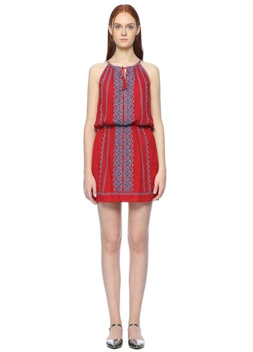 Kırmızı Nakışlı Mini Elbise
