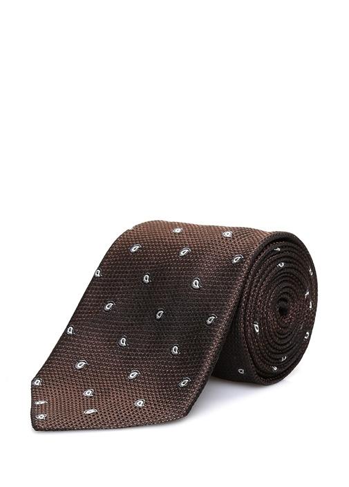 Kahverengi Mikro Şal Desenli İpek Kravat