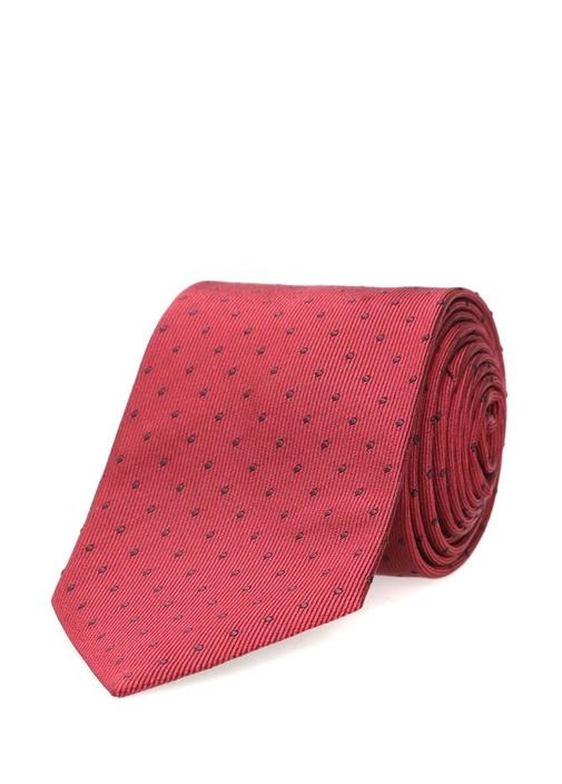 Kırmızı Mikro Desenli İpek Kravat