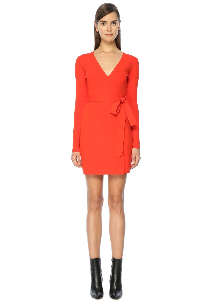 Diane Von Furstenberg V Yaka Anvelop Turuncu Mini Elbise