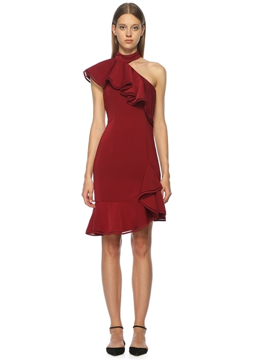 Volanlı Bordo Mini Kokteyl Elbise