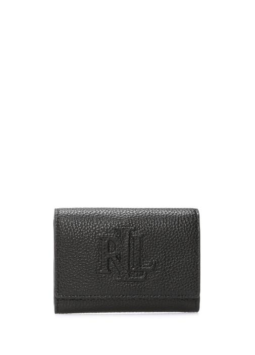 Siyah Logo Kabartmalı Kadın Deri Cüzdan