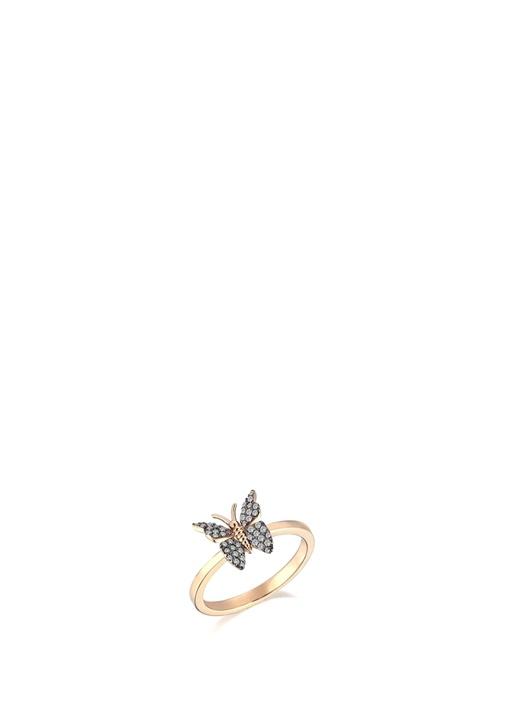 Gold Kelebek Formlu Taşlı Kadın Altın Yüzük