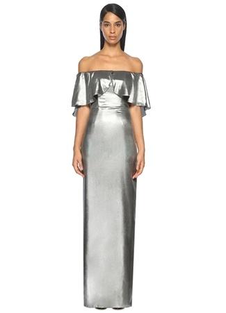 Straplez Gümüş Maksi Abiye Elbise ABS