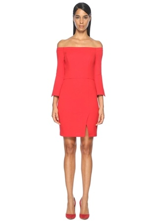 Straplez Kırmızı Mini Kokteyl Elbise ABS