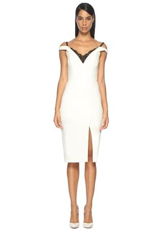 V Yaka Beyaz Midi Kokteyl Elbise ABS