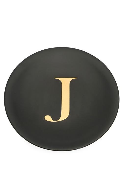 J Harfi Siyah Porselen Tabak