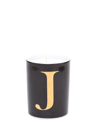 J Harfi Siyah Porselen Mum