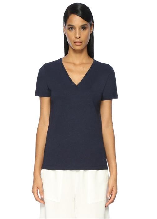 Lacivert V Yaka Basic Tshirt