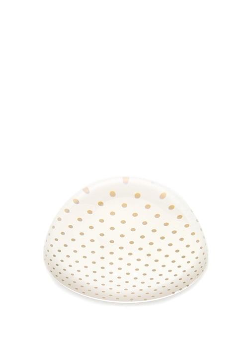 Oval Formlu Gold Puantiyeli Cam Kağıt Ağırlığı