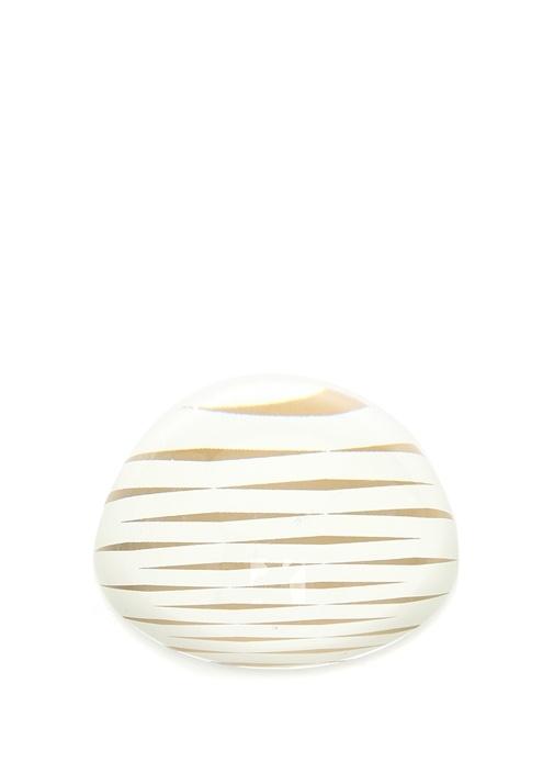 Oval Formlu Gold Çizgili Cam Kağıt Ağırlığı